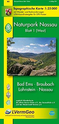 Naturpark Nassau /Bad Ems, Braubach, Lahnstein, Nassau (WR): Naturparkkarte 1:25000 mit Wander- und Radwanderwegen mit Rheinsteig und dem neuen ... Rheinland-Pfalz 1:15000 /1:25000)