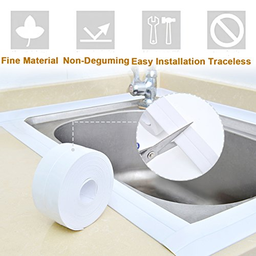 Bathtub and Wall Sealing Caulk Strip Wall and Corner Self Adhesive Peel and Caulk Strip Fixture Tape Caulk Sealer Tub Surround Waterproof Decorative Sealer (Caulk Tub Surround)