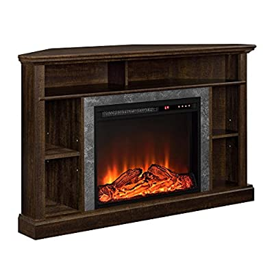 "Ameriwood Home Overland Electric Corner Fireplace for TVs up to 50"" Wide, Espresso"