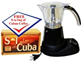 Electric Cuban Coffee Maker. Adjustable 3 to 6 Cups. Free Cuban Coffee Pack