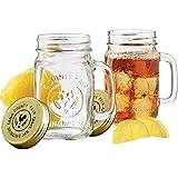 Mason Jar Trinkgläser 500ml, Jar Einmachgläser, Deckel mit Gummiring, Einmachglas, Fido Gläser, luft-und wasserdicht, 2-er Set
