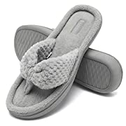 CIOR Fantiny Women's Cozy Memory Foam Spa Thong Flip Flops House Indoor Slippers Plush Gridding Velvet Lining Clog Style-U1MTW017-Light Gray-40-41