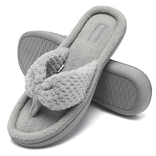 CIOR Fantiny Women's Cozy Memory Foam Spa Thong Flip Flops House Indoor Slippers Plush Gridding Velvet Lining Clog Style-U1MTW017-Light Gray-40-41