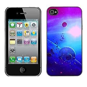 Caucho caso de Shell duro de la cubierta de accesorios de protección BY RAYDREAMMM - Apple iPhone 4 / 4S - Asteroids Alien Planets Sun Moon Purple