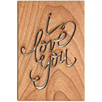 I Love You Calligraphy Laser Cut Wood Card (Love / 5 Year Anniversary/Boyfriend or Girlfriend/Valentine's Day)