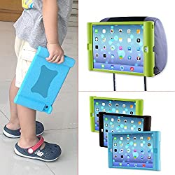 TFY Kids Car Headrest Mount Holder for iPad 4/iPad 3/iPad 2 - Detachable Lightweight Shockproof Anti-slip Soft Silicone Handle Case - Blue
