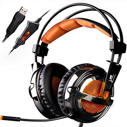 Headset Gaming Vibration - SADES A6 7.1 Virtual Surround Sound Stereo Over-ear PC USB Gaming Headset with Microphone Vibration Volume Control LED Lights(Electroplating Cover), Black-Orange