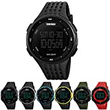 Men Women Fashion Multifunction Waterproof Sport Wrist Watch with Countdown Timer Stopwatch Calendar Alarm Waterproof 50m Green (Black) …