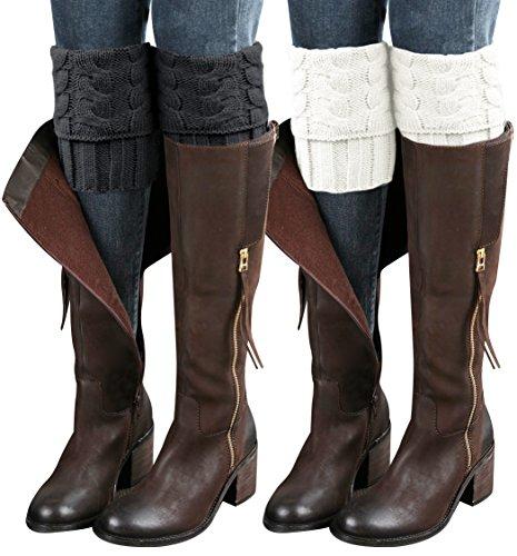Short Cuff Sock (Sierry 2 Pairs Womens Boot Leg Cuffs, Leg Warmers Topper Socks, Boot Socks for Women)