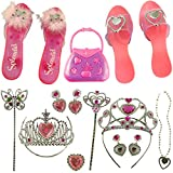 Princess Tiara Dress-up Wand Costume Shoes Toys 2 Sets For Girls Princess Dress