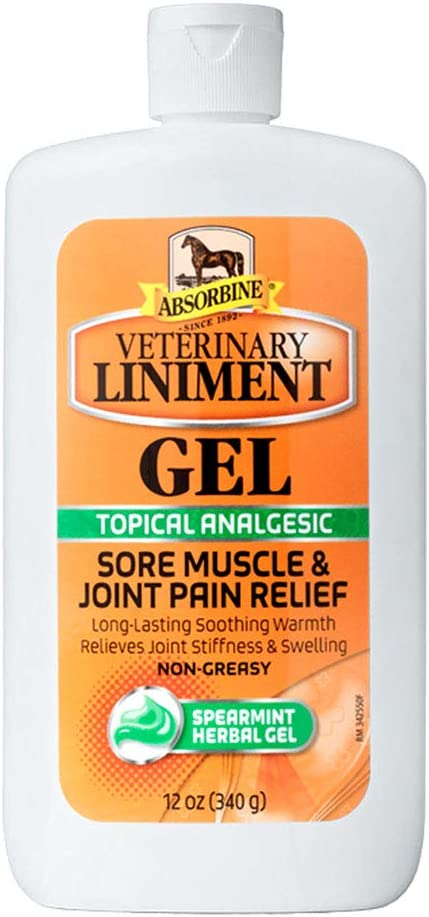 Absorbine Veterinary Liniment Topical Analgesic Sore Muscle and Arthritis Pain Relief Warming Liniment Rub, 12 Ounce Gel : Horse Liniments : Pet Supplies