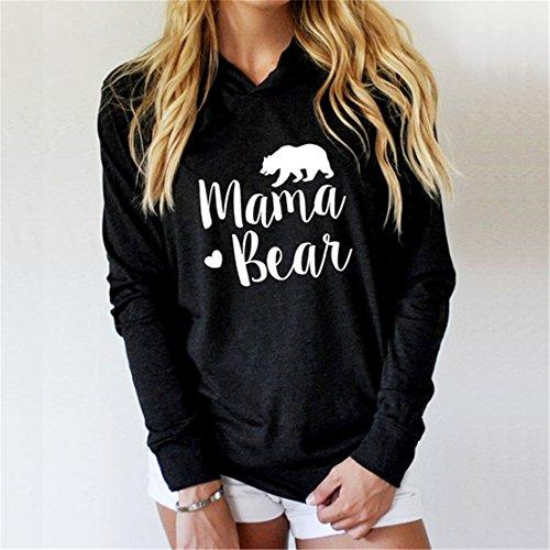 FULLIN Casual Hoodie Sweatshirt Women Lightweight Mama Bear Printing Long Sleeves Hoodies Tops