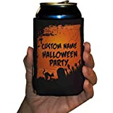 Custom Halloween Party Can Cooler- Orange and Black Graveyard Scene Can Cooler (48)