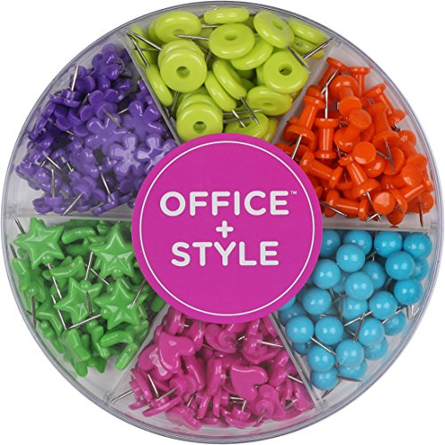 Office Style Decorative Multi-Colored Shaped Push Pins for Home & Office, Six Colors for Different Projects in Reusable Organizing Container, 280 Pieces, by Office + Style ()