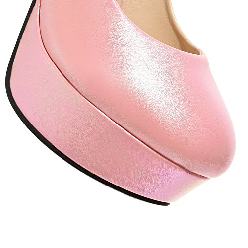 AmoonyFashion Womens High-Heels Soft Material Solid Buckle Round Closed Toe Pumps-Shoes Pink kb5SJ7nOXp