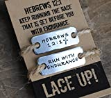 {Set of TWO tags} shoe lace tag . RUN WITH ENDURANCE / HEBREWS 12.1 . fitness motivation . team sports jewelry . trainer tags