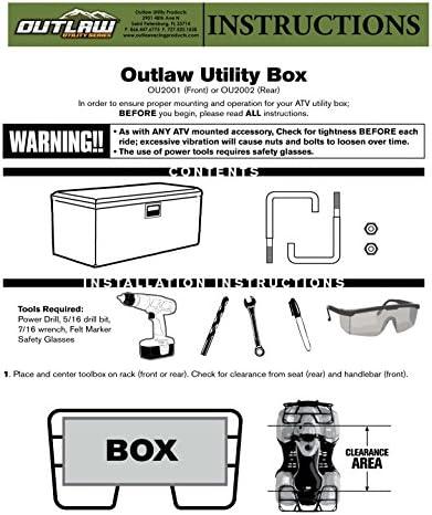 Outlaw OU2002 ATV UTV Aluminum Box Rear Storage Rack Cargo Mount Trunk Luggage