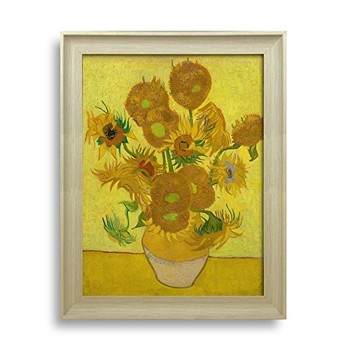 Sunflower by Van Gogh Framed Art Print Famous Painting Wall Decor Natural Wood Finish Frame
