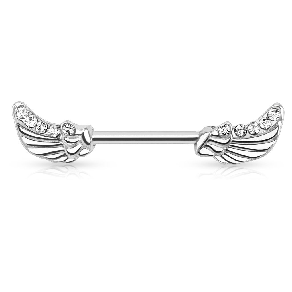 Dynamique Angels Wings with Lined CZ GEMS 316L Surgical Steel Nipple BAR Sold PER Piece OR Pair