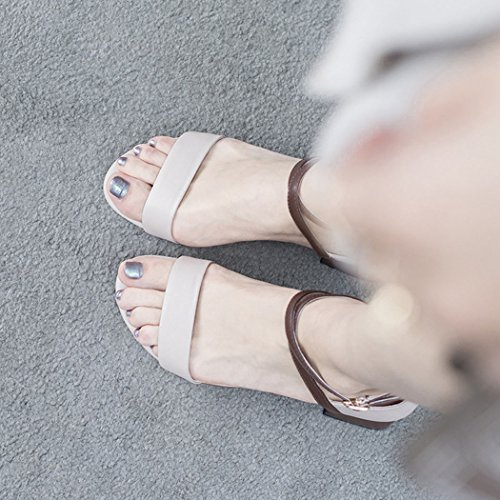 Croce GAOLIXIA Banchetto Albicocca d'ufficio Scarpe lavoro Toe Open cinturino Womens Ladies Sandali Shoes Party alla caviglia Pompe Tacchi Estate in pelle Art Court alti x8wqxgr