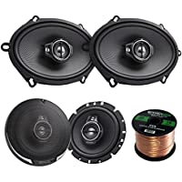 2 Pairs Car Speaker Package Of 2x Kenwood KFC-C5795PS 5x7 360W 3-Way Custom Fit Coaxial Speakers + 2x KFC1695PS 6-1/2 3-way 320 Watt Car Speakers + Enrock 16g 50 Feet Speaker Wire