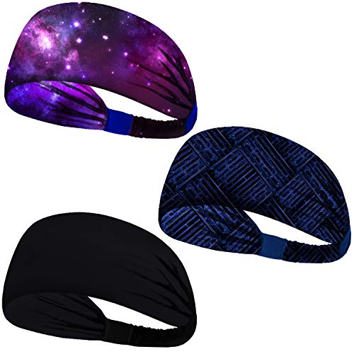 Headbands for Men Women Sweat bands Headbands Non Slip Breatheable Durable Head Band Outdoor Sports Workout Yoga Gym Running Jogging Exercise (Elastic Band, 3 Pack Black Galaxy Purple Geometry Blue)