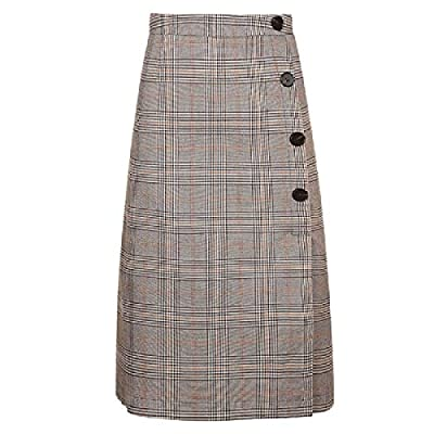 Abetteric Women's High Waist Retro Stitch Fall Plaid Button-Down A-line Skirt