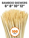 Allcana Long Bamboo Skewers for Barbecue, BBQ, Chicken, Shrimp, Kabob, Chocolate Fountain, Cocktail Pick | 100pcs | 8 Inch, 10 Inch
