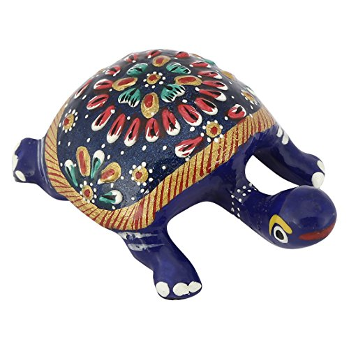 COLLECTIBLES INDIA Handmade Unique Metal Sea Turtle Figurine Good Luck Charm and Feng Shui Home Decorations Items Centerpiece for Table
