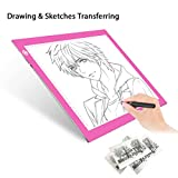 Light Pad Drawing A4 Tracing Light Table NXENTC LED Copy Board Ultra-Thin Display Pad Brightness Adjustable Stencil Artist Art Tracing Tatto Table Pink