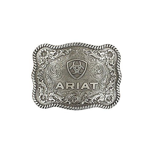 Ariat Men's Scalloped Rectangular Filigree Belt Buckle, Silver, ()