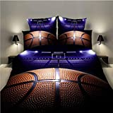 Lldaily 3D Sports Basketball Court Bedding Set for Teen Boys,Duvet Cover Sets with Pillowcases,Twin Size,2PCS,1 Duvet Cover+1 Pillow Shams,(Comforter not Included)