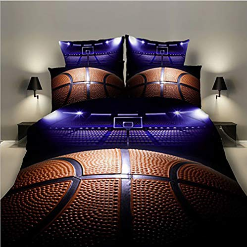 Lldaily 3D Sports Basketball curt Bedding Set for Teen Boys,Duvet Cover Sets with Pillowcases,Queen Size,3PCS,1 Duvet Cover+2 Pillow Shams,(Comforter not Included)