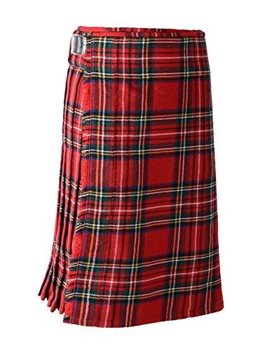 Scottish Mens Kilt Traditional Highland Dress Skirt Kilts Tartan Sporran (42, Royal Stewart)