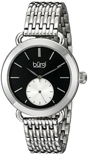 Burgi Women's BUR153SSB Silver Multifunction Quartz Watch With Black Dial and Silver Bracelet ()