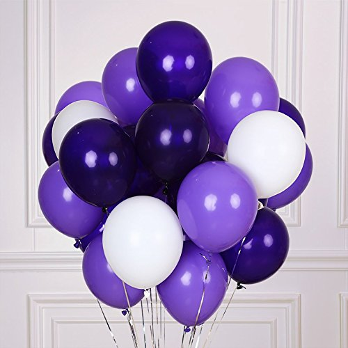 """12"""" Latex Purple Balloons in White, Lavender and"""