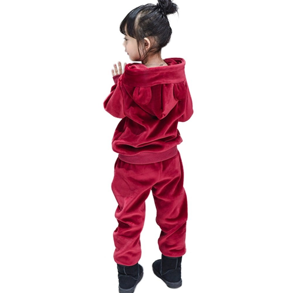 Rexury Unisex Toddler Extra Soft Velour Tracksuit Sweatshirt Hoodie and Pants 2 Piece Set For Boys Girls