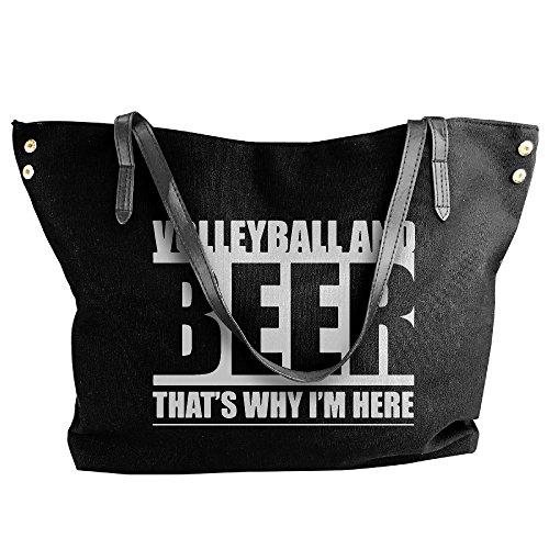 Large And Tote Handbags Black Volleyball Shoulder Handbag Women's Canvas Beer Zqv54CC
