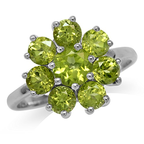 2.79ct. Natural Peridot White Gold Plated 925 Sterling Silver Flower Cluster Ring Size 10