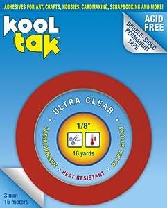 KOOL TAK Ultra Clear Sticky Tape, 1/8-Inch by 16-Yard