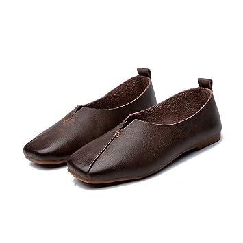 Zapatos Casuales Marrones Zapatos De Verano para Mujer Zapatos úNicos Hechos A Mano Mocasines De Cuero