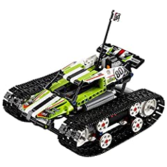 Spin, turn, clamber over obstacles and race at breakneck speed with this fully motorized, remote-controlled LEGO Technic RC Tracked Racer, featuring a lime-green, white and black color scheme with decorative stickers, driver's cab with roll b...