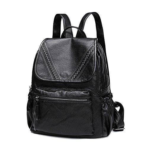 Rucksack Rucksack Schoolbag Leder Weibliche Mumie Große Tasche,Schwarz schwarz