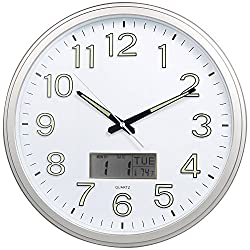 Night Light Wall Clock, SkyNature 15'' Large Quartz Decorative Luminous 3D Numerals Silent Non-Ticking Clock with Temperature Matte Silver (Matte Silver)