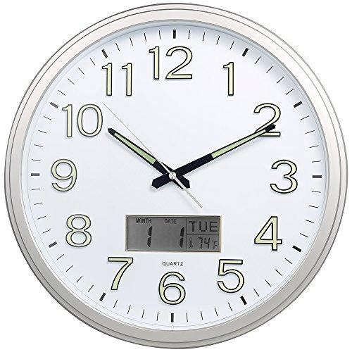 Night Light Wall Clock, SkyNature 15'' Large Quartz Decorative Luminous 3D Numerals Silent Non-Ticking Clock with Temperature Matte Silver (Matte (Large Luminous)