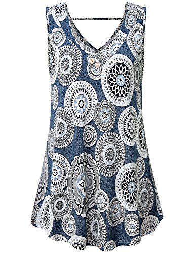 Misswor Floral Tops for Women, Floral Summer Tops Sleeveless Strappy V Neck T-Shirts Fit and Flare Blouse Retro Button Tank Boutique Vintage Wear Blue XL - Sleeveless Button Waist Shirt