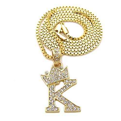 """Fashion 21 Unisex Small Size Pave Crown Tilted Initial Alphabet Letter Pendant 2mm 24"""" Box Chain Necklace in Gold, Silver Tone (K - Gold Tone)"""