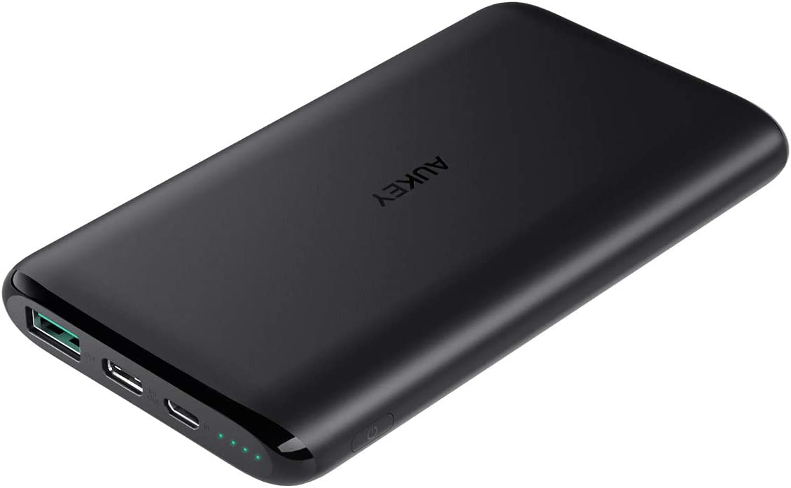 AUKEY USB C Power Bank, 10000mAh Portable Charger, Dual-Output Battery Pack Compatible with iPhone Xs/XS Max/XR, Samsung Galaxy Note9, and More