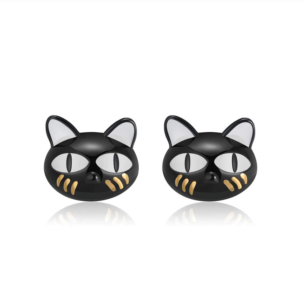 8133c3399 Amazon.com: Ginny Black Cat Cute Kitty Kitten Stud Earrings Sterling Silver  Ginger Lyne Collection: Jewelry