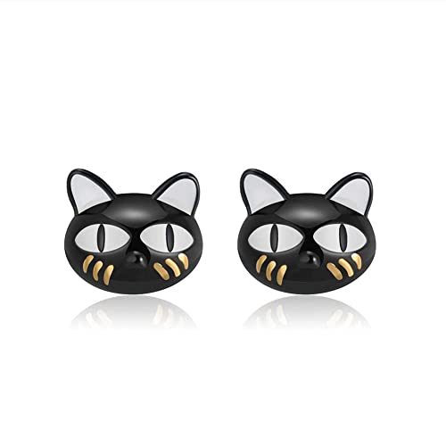 0f2fa3a91 Image Unavailable. Image not available for. Color: Ginny Black Cat Cute  Kitty Kitten Stud Earrings Sterling Silver Ginger Lyne Collection
